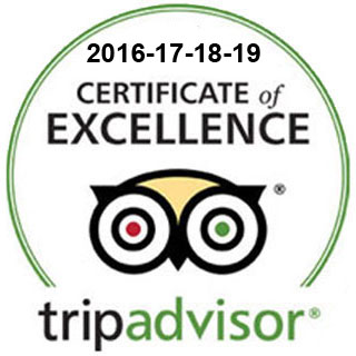 Tripadvisor Certificate of Excellence 2016 - 2017 - 2018